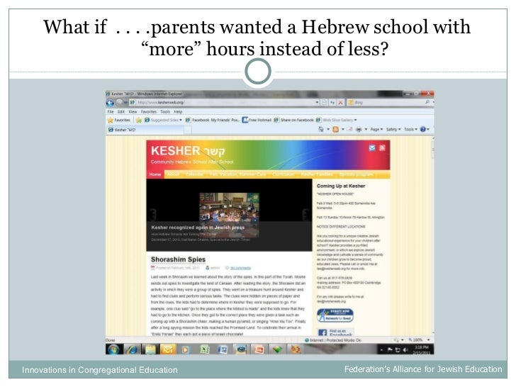 """<ul><li>What if  . . . .parents wanted a Hebrew school with """"more"""" hours instead of less? </li></ul>Innovations in Congreg..."""