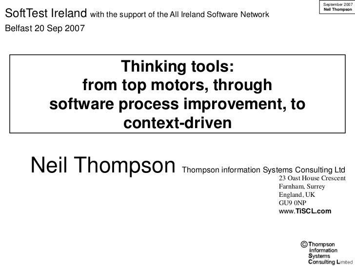 September 2007                                                                                      Neil ThompsonSoftTest ...