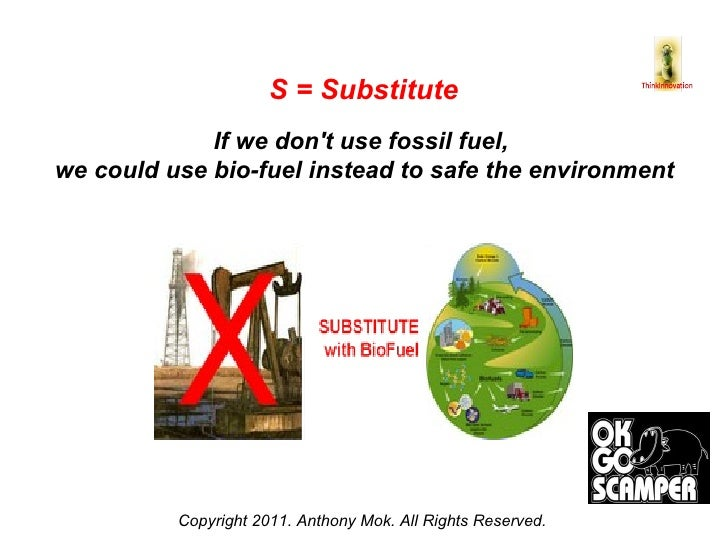 Copyright 2011. Anthony Mok. All Rights Reserved. S = Substitute If we don't use fossil fuel,  we could use bio-fuel inste...