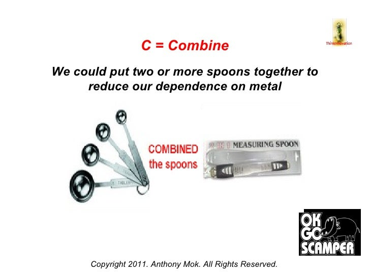 Copyright 2011. Anthony Mok. All Rights Reserved. C = Combine We could put two or more spoons together to reduce our depen...