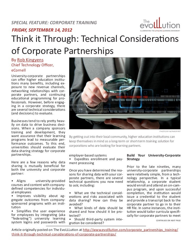 SPECIAL FEATURE: CORPORATE TRAININGFRIDAY, SEPTEMBER 14, 2012Think it Through: Technical Considerationsof Corporate Partne...