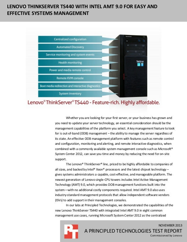 LENOVO THINKSERVER TS440 WITH INTEL AMT 9.0 FOR EASY AND EFFECTIVE SYSTEMS MANAGEMENT  Whether you are looking for your fi...