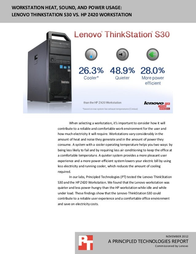 Workstation heat, sound, and power usage: Lenovo