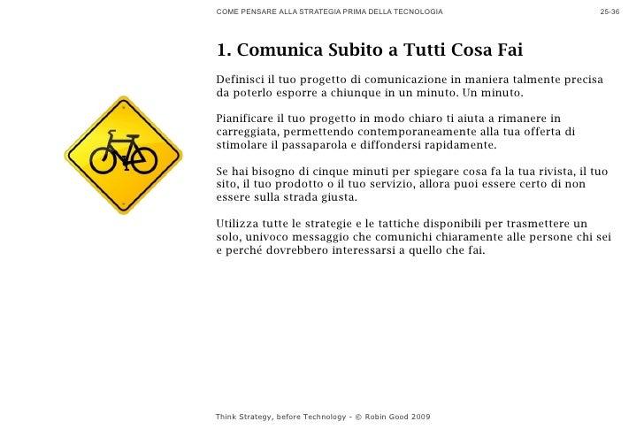 COME PENSARE ALLA STRATEGIA PRIMA DELLA TECNOLOGIA                       25-36     1. Comunica Subito a Tutti Cosa Fai Def...