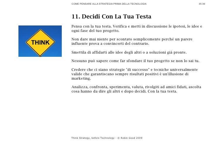 COME PENSARE ALLA STRATEGIA PRIMA DELLA TECNOLOGIA                        35-36     11. Decidi Con La Tua Testa Pensa con ...