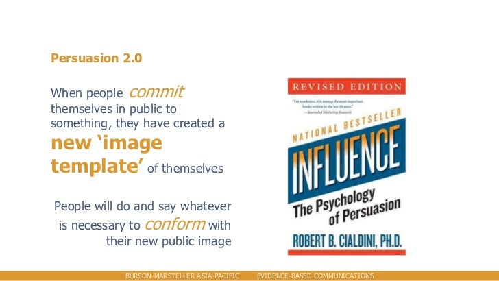 Persuasion 2.0When people committhemselves in public tosomething, they have created anew 'imagetemplate' of themselvesPeop...