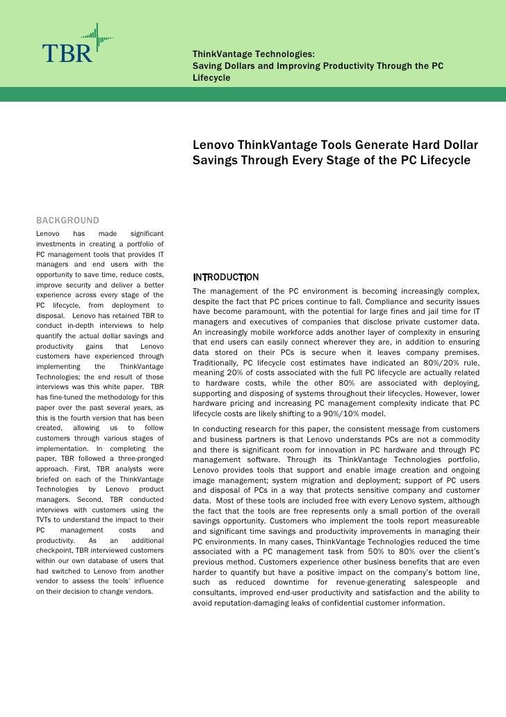 TBR                                         ThinkVantage Technologies:                                              Saving...