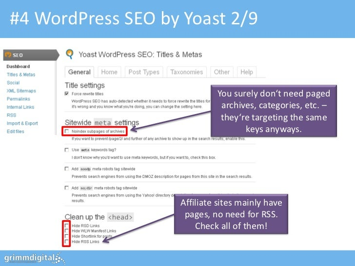 #4 WordPress SEO by Yoast 2/9                            You surely don't need paged                             archives,...