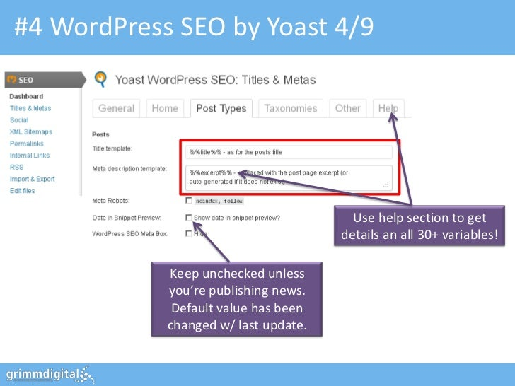 #4 WordPress SEO by Yoast 4/9                                        Use help section to get                              ...