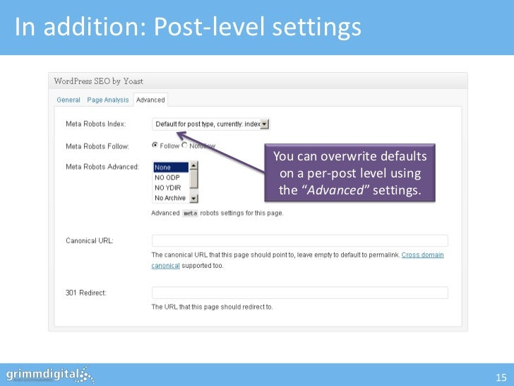 In addition: Post-level settings                       You can overwrite defaults                        on a per-post lev...
