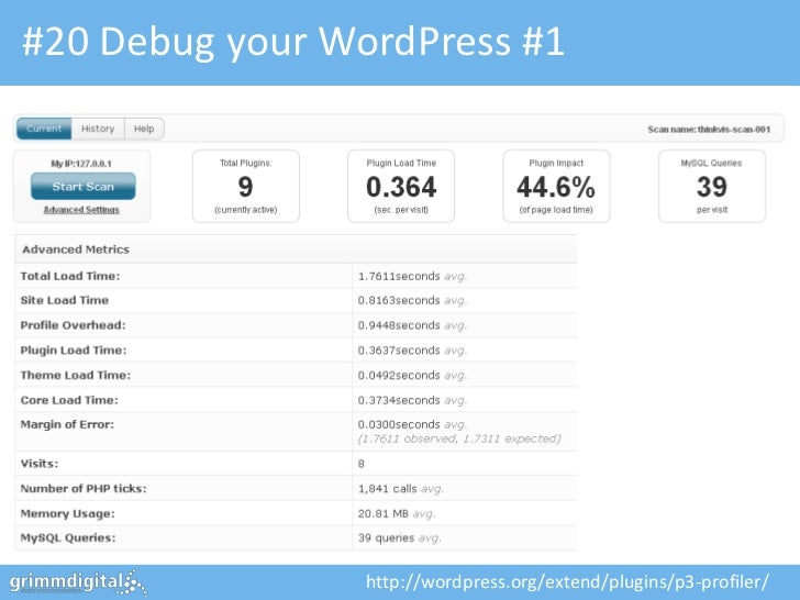 #20 Debug your WordPress #1                 http://wordpress.org/extend/plugins/p3-profiler/