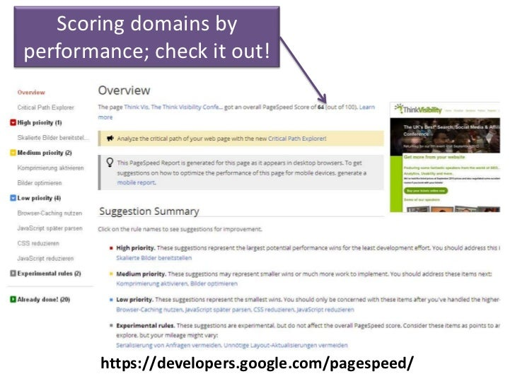 Scoring domains byperformance; check it out!        https://developers.google.com/pagespeed/