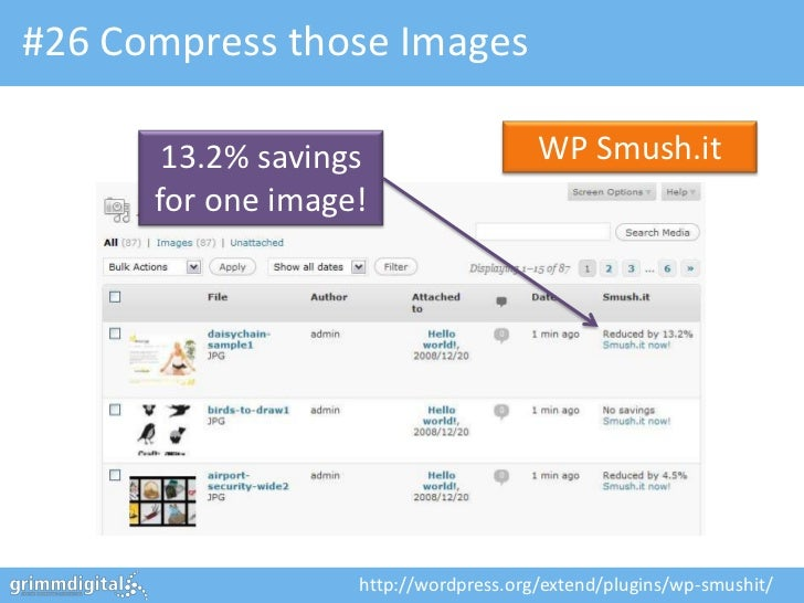 #26 Compress those Images       13.2% savings                   WP Smush.it      for one image!                   http://w...