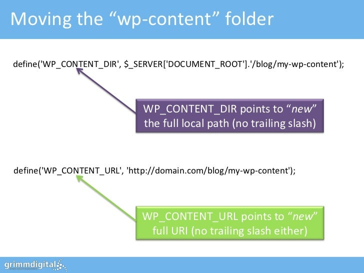 """Moving the """"wp-content"""" folderdefine(WP_CONTENT_DIR, $_SERVER[DOCUMENT_ROOT]./blog/my-wp-content);                        ..."""