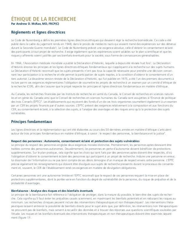 ÉTHIQUE DE LA RECHERCHE Par Andrew D. McRae, MD, FRCP(C) Règlements et lignes directrices Le Code de Nuremberg a défini le...