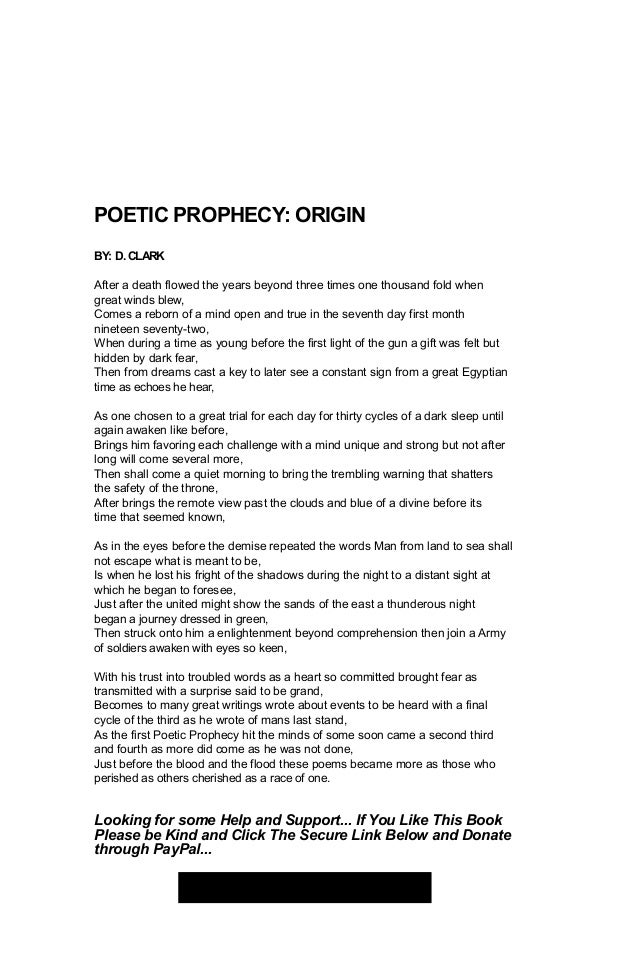 Third Cycle Poetic Prophecy