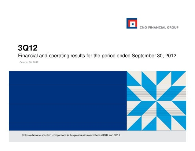 3Q12Financial and operating results for the period ended September 30, 2012October 30, 2012  Unless otherwise specified, c...