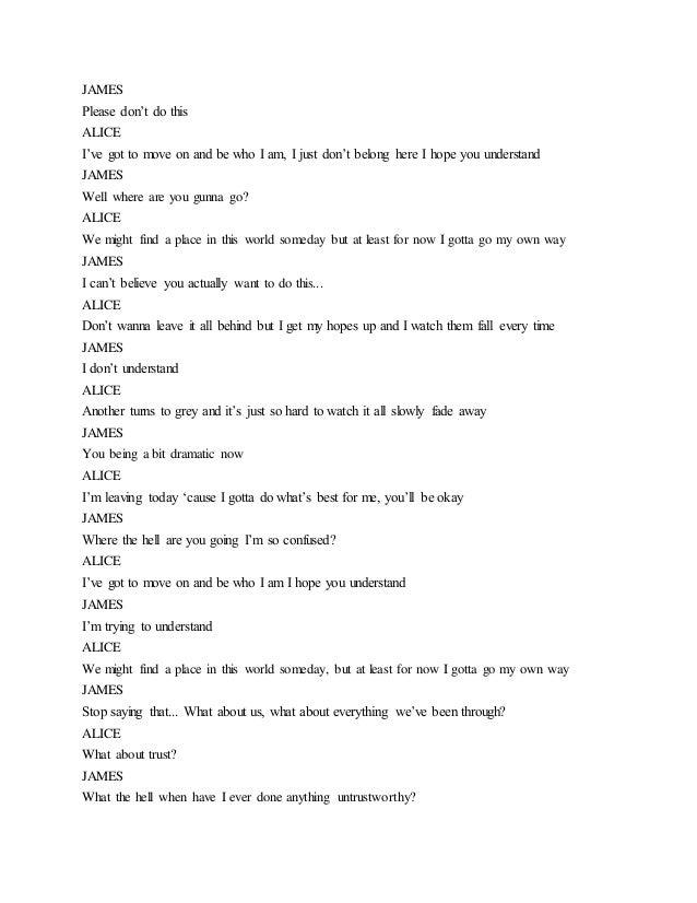 Script for Preliminary Task (Third Draft) - The Break Up