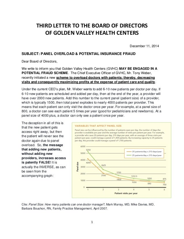 1 THIRD LETTER TO THE BOARD OF DIRECTORS OF GOLDEN VALLEY HEALTH CENTERS  December 11, ...