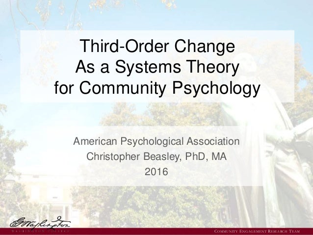 Third-Order Change As a Systems Theory for Community Psychology American Psychological Association Christopher Beasley, Ph...