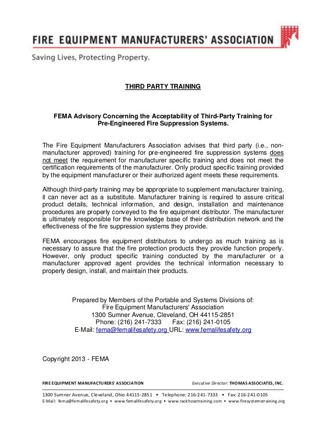 Third-Party Training for Pre-Engineered Fire Suppression Systems