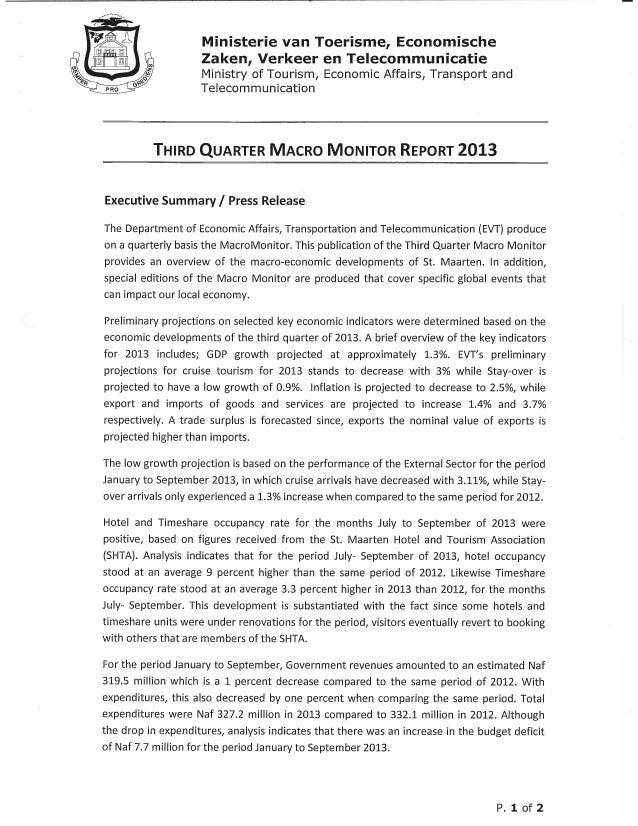 Third quarter macro monitor executive summary 2013