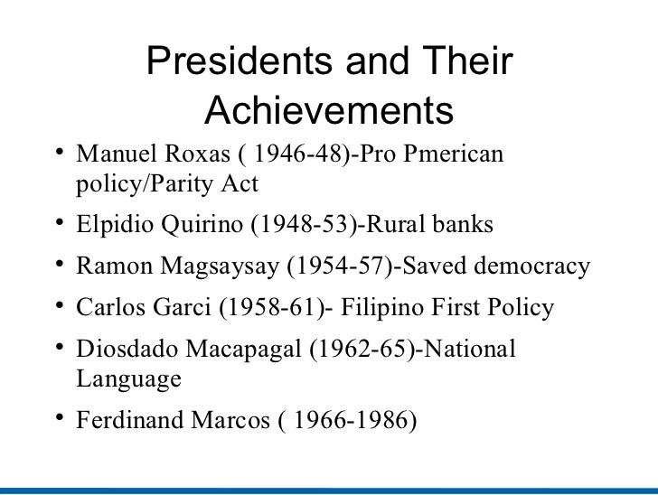 presidents of the philippines and their