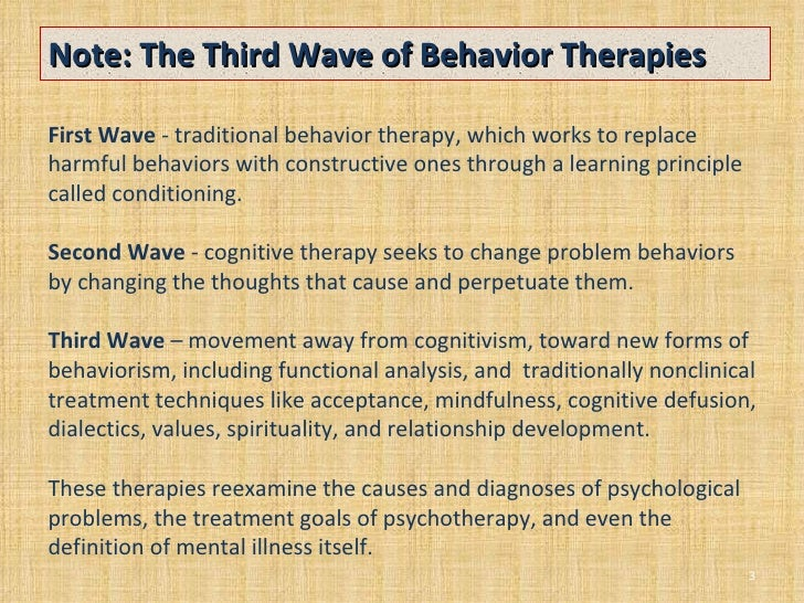 Third Wave Behavior Therapies on cognitive behavioral treatment