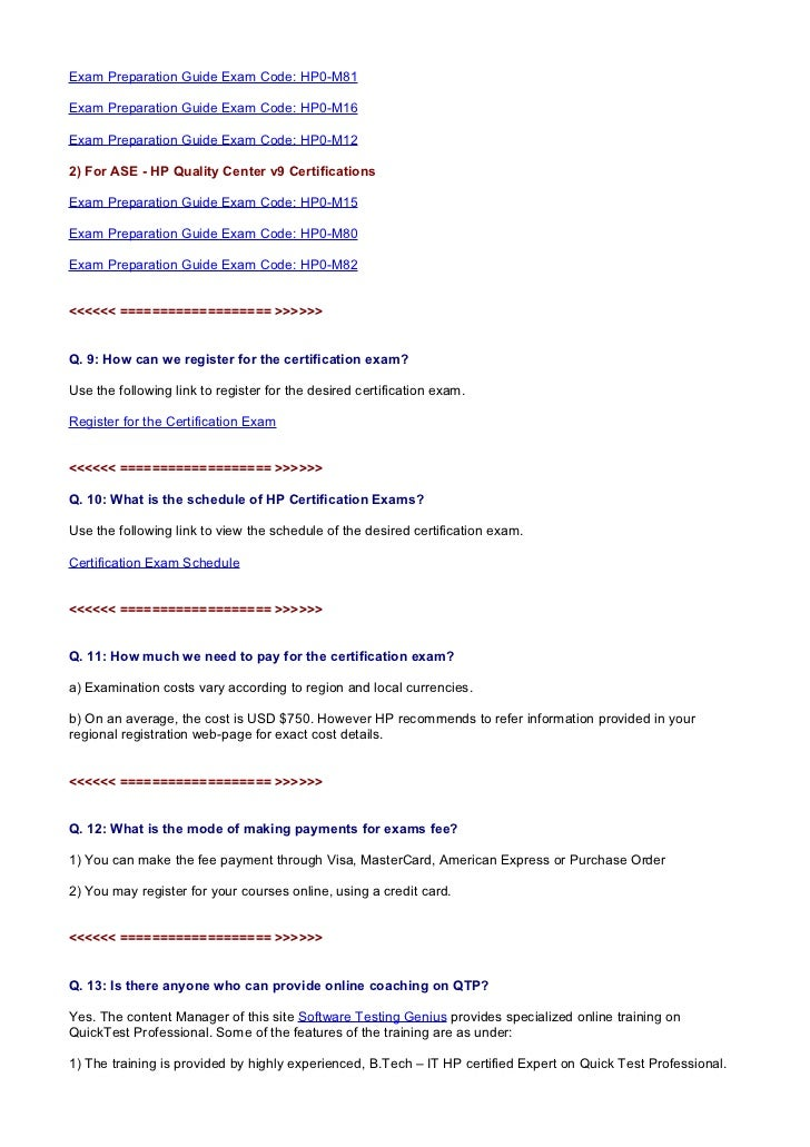 Thirteen Top Questions About Qtp Certification