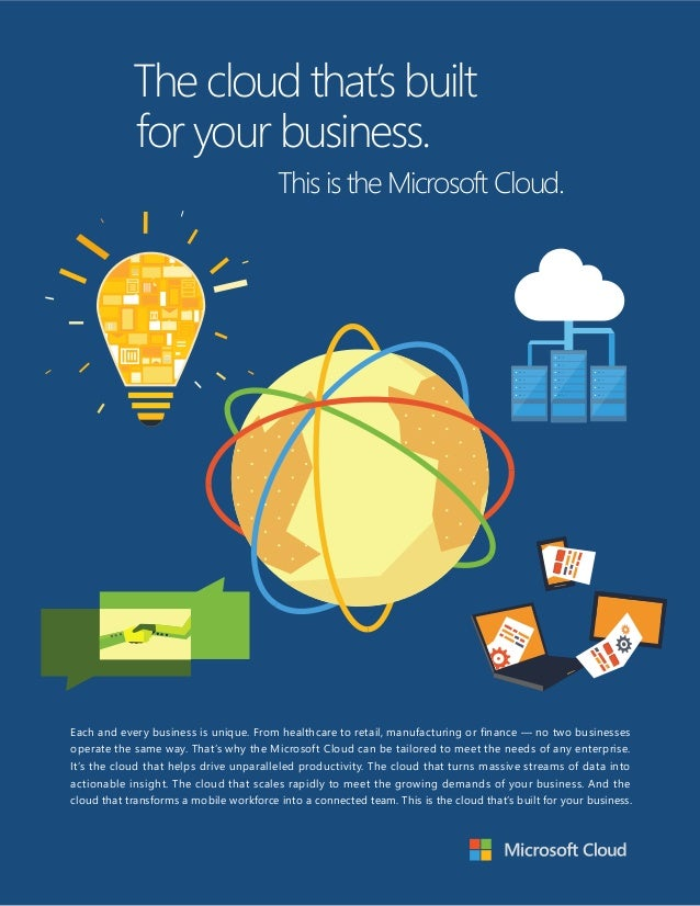 The cloud that's built for your business.  This is the Microsoft Cloud.  Each and every business is unique. From healthcar...