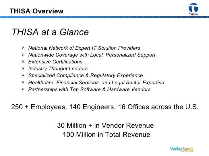 THISA Overview <ul><li>THISA at a Glance </li></ul><ul><ul><li>National Network of Expert IT Solution Providers </li></ul>...