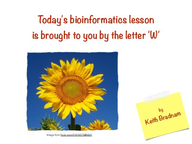 Today's bioinformatics lesson is brought to you by the letter 'W' by Keith Bradnam Image from flickr.com/91619273@N00/ Toda...