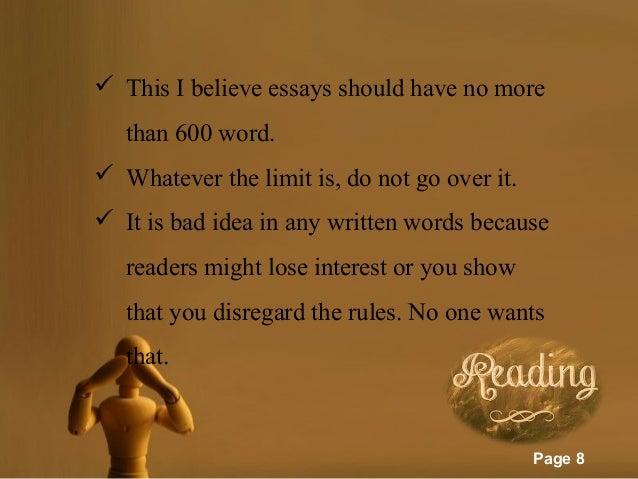This is believe essays