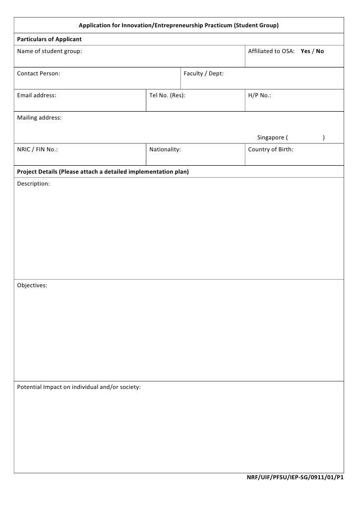 ApplicationforInnovation/EntrepreneurshipPracticum(StudentGroup)ParticularsofApplicantNameofstudentgroup:  ...
