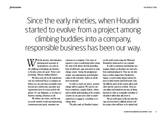 This is Houdini Sportswear - Planetary Boundaries Assessment