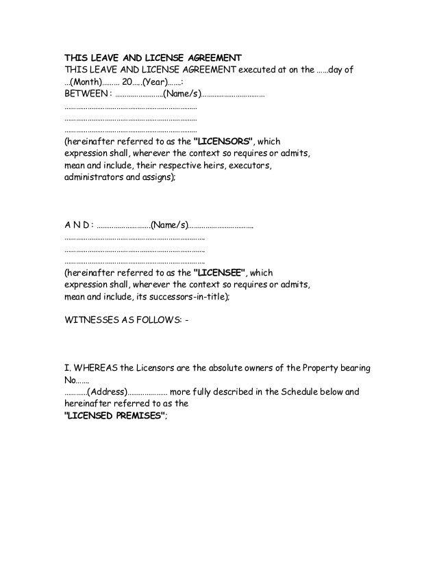 Leave licence agreement platinumwayz