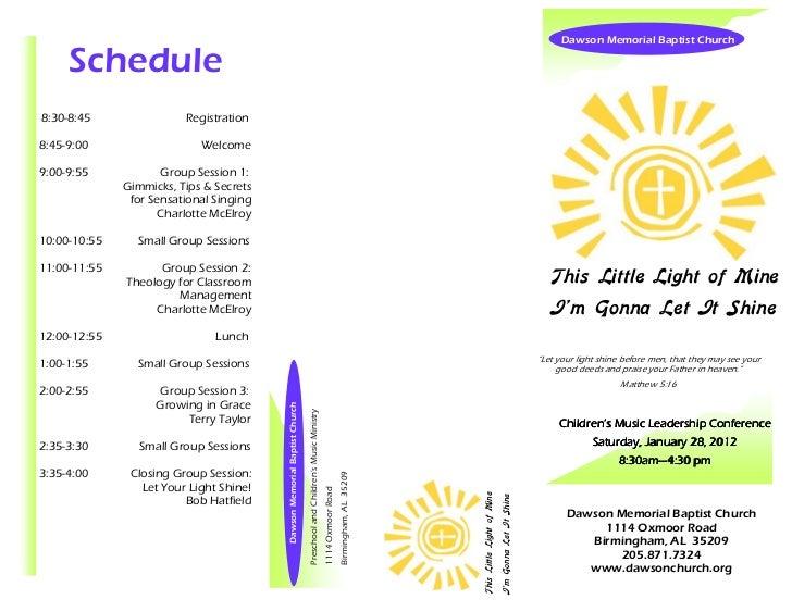 Dawson Memorial Baptist Church     Schedule8:30-8:45                Registration8:45-9:00                   Welcome9:00-9:...