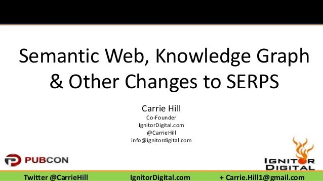 Semantic Web, Knowledge Graph  & Other Changes to SERPS  Carrie Hill  Co-Founder  IgnitorDigital.com  @CarrieHill  info@ig...