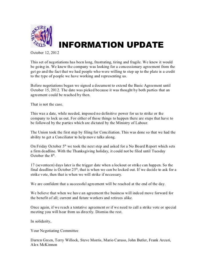 INFORMATION UPDATEOctober 12, 2012This set of negotiations has been long, frustrating, tiring and fragile. We knew it woul...