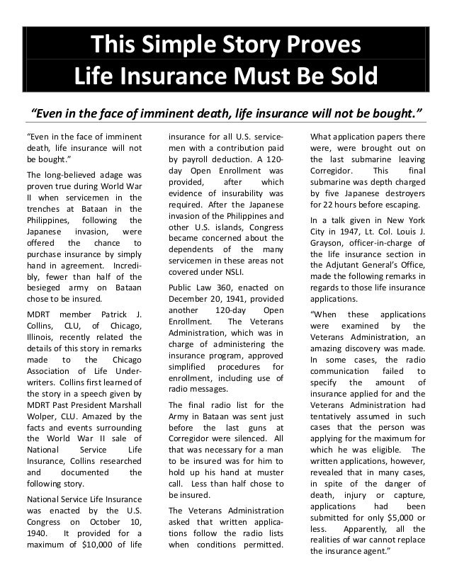 """This Simple Story Proves Life Insurance Must Be Sold """"Even in the face of imminent death, life insurance will not be bough..."""