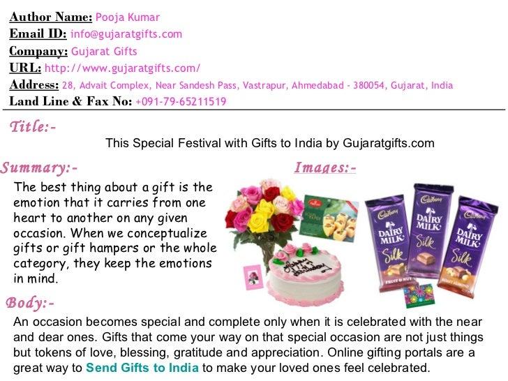 Author Name: Pooja Kumar Email ID: info@gujaratgifts.com Company: Gujarat Gifts URL: http://www.gujaratgifts.com/ Address:...
