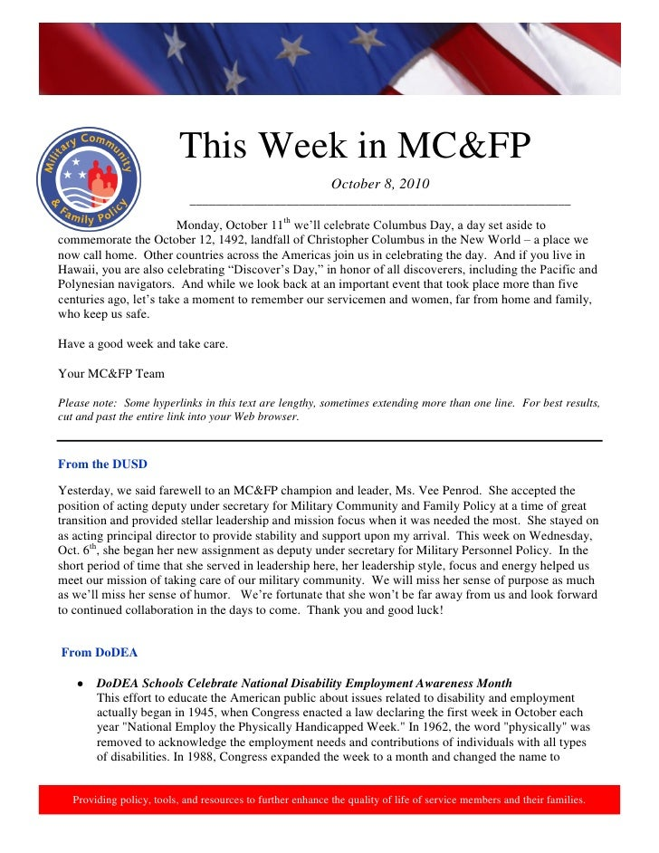 http://www.health.mil/blog/10-06-24/Family_Resiliency_Webinar.aspx.                                This Week in MC&FP     ...