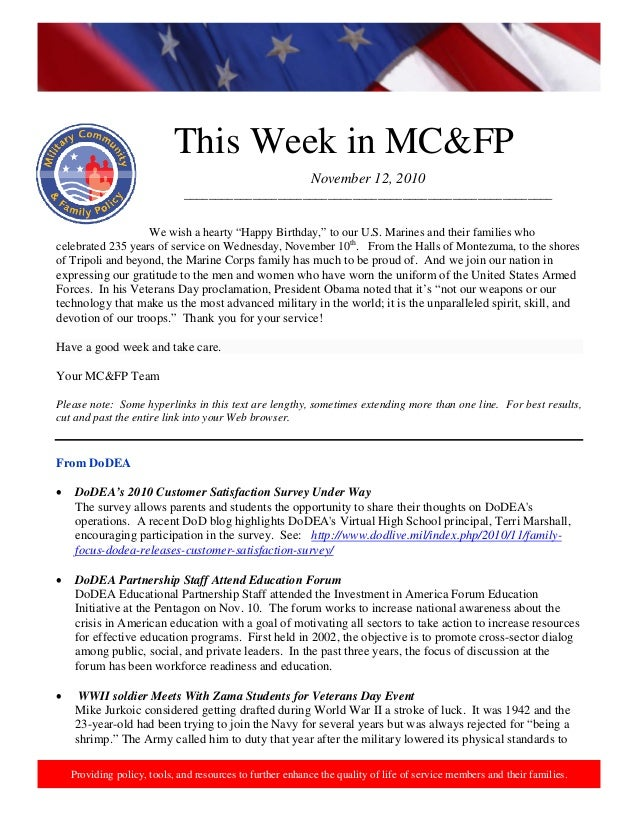 http://www.health.mil/blog/10‐06‐24/Family_Resiliency_Webinar.aspx.  This Week in MC&FP Providing policy, tools, and res...