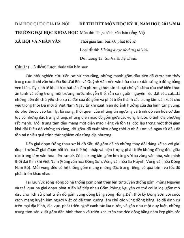 ĐẠI HỌC QUỐC GIA HÀ NỘI ĐỀ THI HẾT MÔN HỌC KỲ II, NĂM HỌC 2013-2014 TRƯỜNG ĐẠI HỌC KHOA HỌC Môn thi: Thực hành văn bản tiế...
