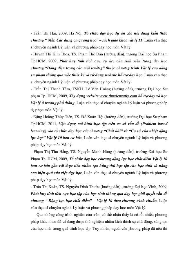 """- Trần Thị Hải, 2009, Hà Nội, Tổ chức dạy học dự án các nội dung kiến thức chương """" Mắt. Các dụng cụ quang học"""" – sách giá..."""