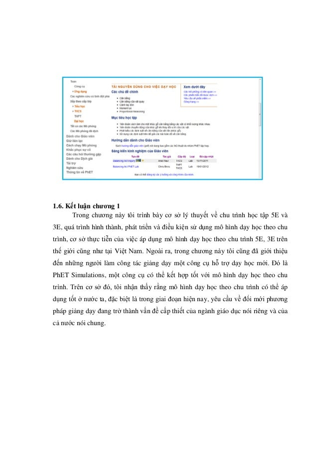 1.6. Kết luận chương 1 Trong chương này tôi trình bày cơ sở lý thuyết về chu trình học tập 5E và 3E, quá trình hình thành,...