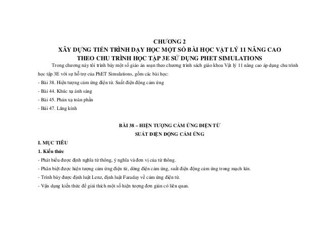 CHƯƠNG 2 XÂY DỰNG TIẾN TRÌNH DẠY HỌC MỘT SỐ BÀI HỌC VẬT LÝ 11 NÂNG CAO THEO CHU TRÌNH HỌC TẬP 3E SỬ DỤNG PHET SIMULATIONS ...