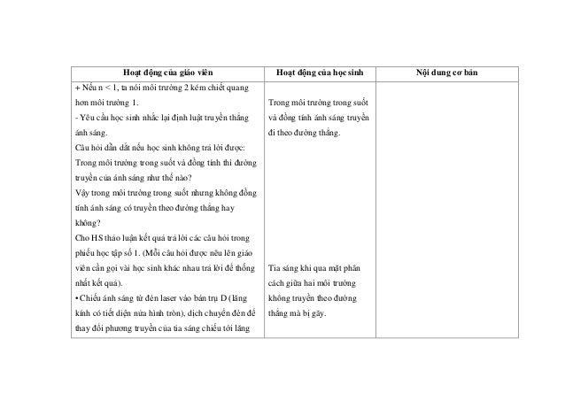 Hoạt động của giáo viên Hoạt động của học sinh Nội dung cơ bản + Nếu n < 1, ta nói môi trường 2 kém chiết quang hơn môi tr...