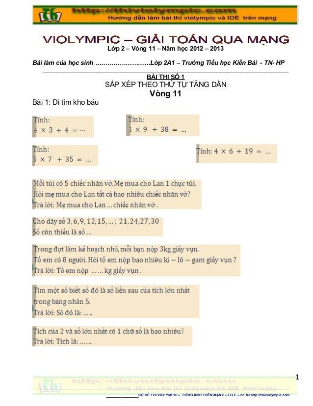 Lớp 2 – Vòng 11 – Năm học 2012 – 2013Bài làm của học sinh ………………………Lớp 2A1 – Trường Tiểu học Kiền Bái - TN- HP    ________...