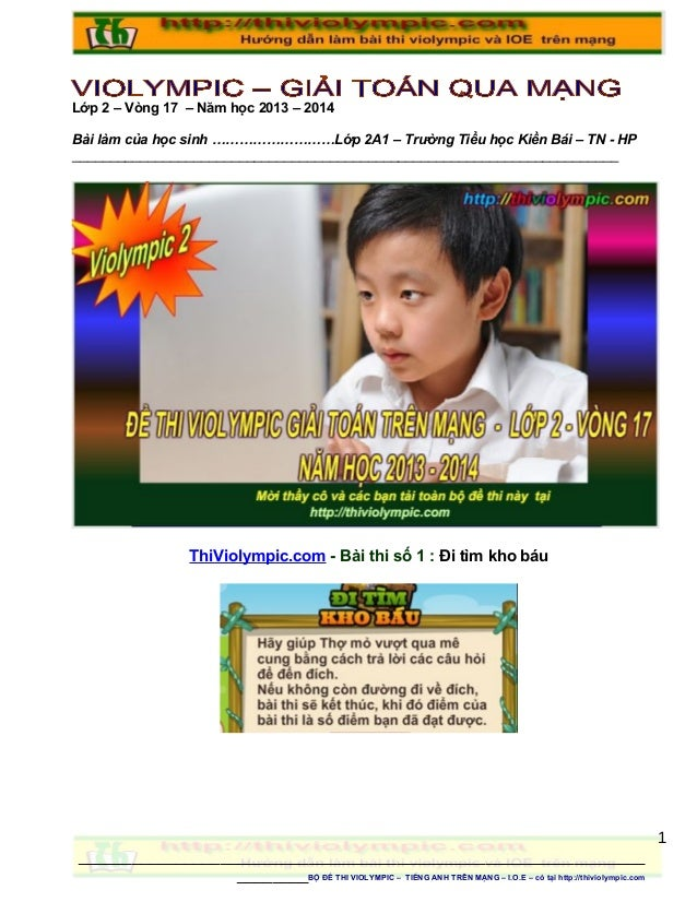 Lớp 2 – Vòng 17 – Năm học 2013 – 2014 Bài làm của học sinh ………………………Lớp 2A1 – Trường Tiểu học Kiền Bái – TN - HP _________...